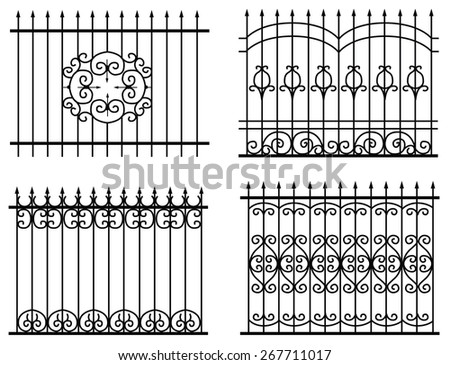 silhouette of different old street fences