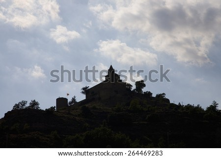 Silhouette of historic castle near village of Solsona, Cataluna, Spain