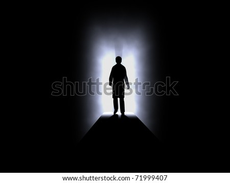 Silhouette of human in darkness