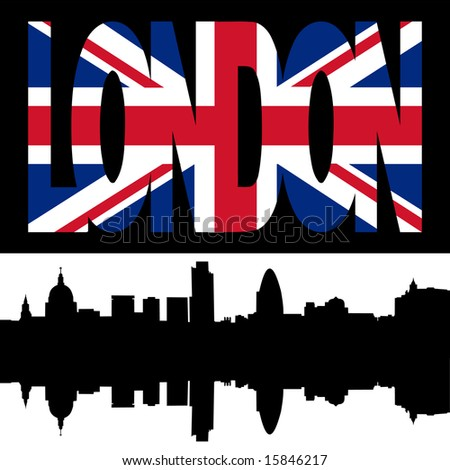 silhouette of London Skyline and London flag text illustration JPG