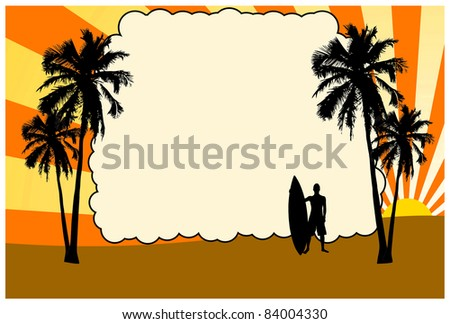 Silhouette of surfer with surf board and palms on sunset, background