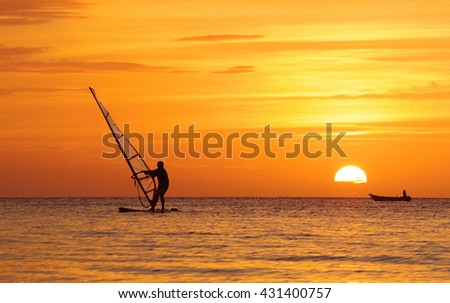 silhouette of the wind surfer