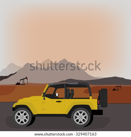 Silhouette of working oil pump on sunset mountain background or landscape and yellow car jeep riding. Pump rocking. Crude oil production. Industrial illustration