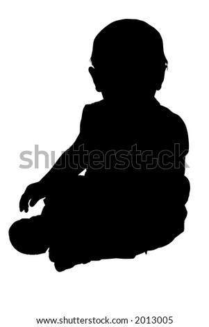Silhouette over white with clipping path. Baby sitting.