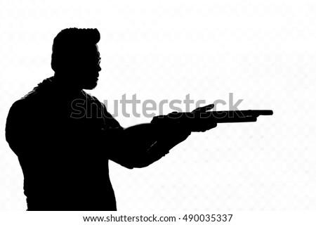 Man Shoots His Gun Silhouette Stock Photo 33481453 ...