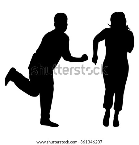 Vector Silhouette Dancing Couple On White Stock Vector ...