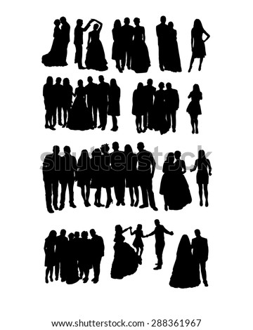 Silhouettes of people attending weddings