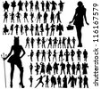 Silhouettes of Special Occasion Outfits - stock photo