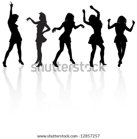 silhouettes of the dancing girls at the white background