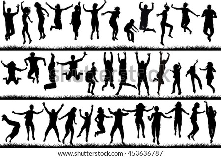 Silhouettes of young people and children jumping