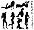 Silhouettes Sexy Girl in various Poses, isolated on white background, illustration - stock photo
