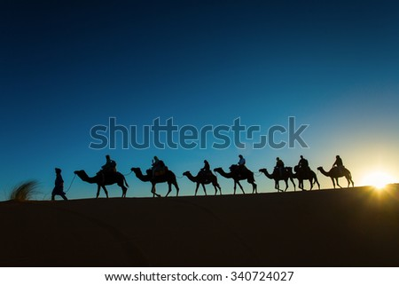 Sillhouette of camel caravan going through the desert at sunset.