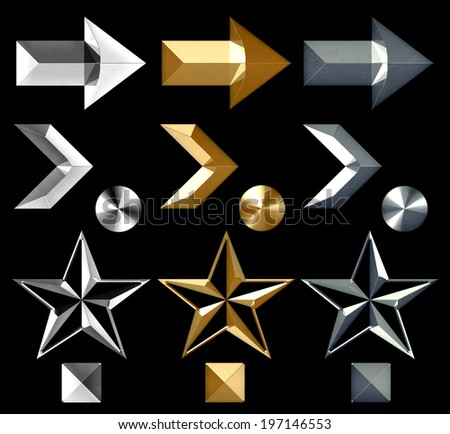 Silver and gold arrow symbol icons star and metal stud