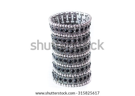Silver bracelet diamond crystal isolated on white a background