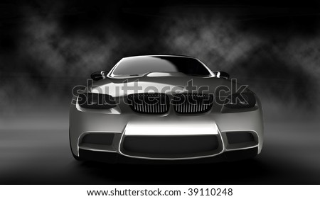 Silver business executive sports car / sportscar in smokey studio
