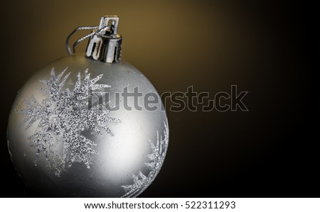 Silver Christmas Decoration On Black