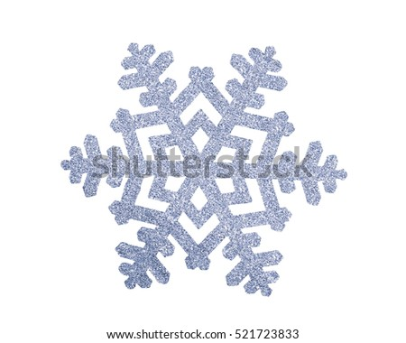 Silver Christmas snowflake isolated on white background
