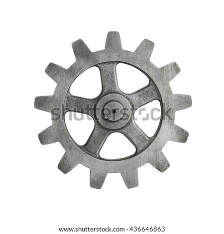 Silver Cog on White Background