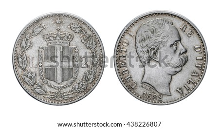 Silver Coin 2 Lire 1882, Umberto I King of Italy