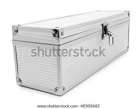 silver color aluminum box over the white background