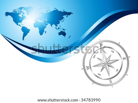 Silver compass with world map background