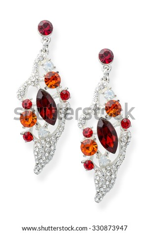 silver earrings with precious stones isolated on white