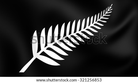 Silver Fern Flag, New Zealand. Close Up.