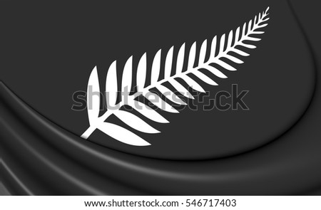 Silver Fern Flag, New Zealand. 3D Illustration.