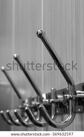 Silver hooks, isolated on white,towel rack,bathroom,close up