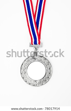 silver medal with your own logo or text in the center, isolated on white
