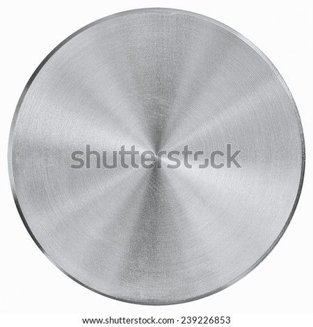 Silver metal button isolated on white background
