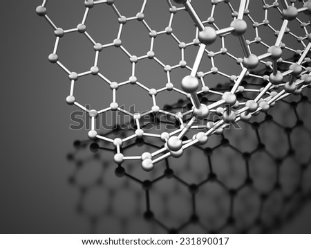 Silver molecular mesh structure rendered
