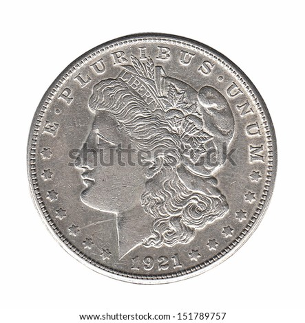Silver Morgan dollar isolated on white