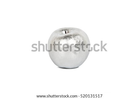 Silver painted apple on white background