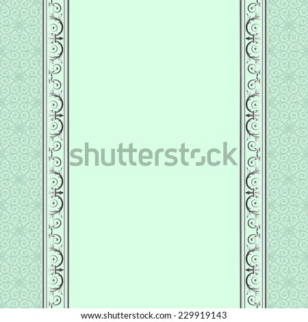 Silver patterned lace borders on green background