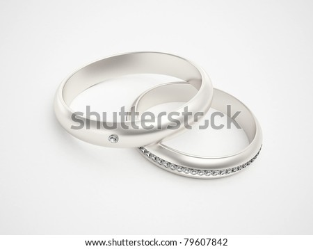 Silver rings with diamonds - friendships - marriage - weddingrings - pair
