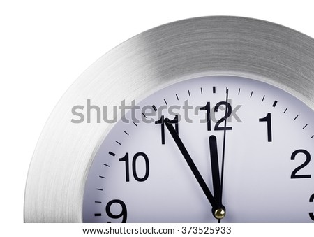 Silver round wall clock isolated on white background