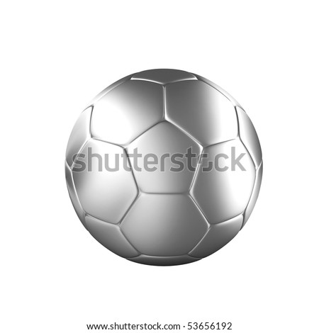 Silver shiny soccer ball isolated on a white background