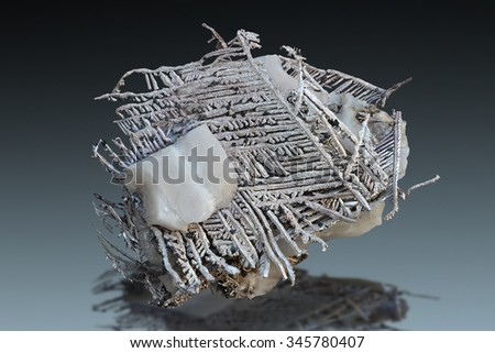 Silver specimen with calcite from Batopilas, Chihuahua, Mexico.