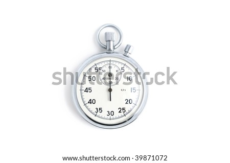 Silver stopwatch with hands in zero position isolated on white