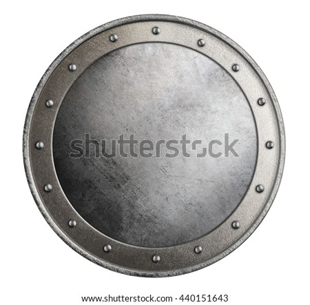 simple metal round shield isolated 3d illustration