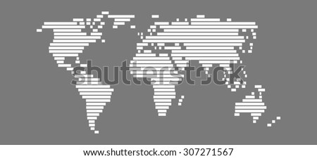 Simple World Map with white bars