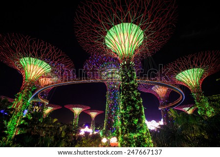 singapore dec 16 futuristic view of amazing illumination at garden by the bay on