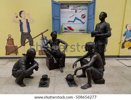 Singapore - Dec 14, 2015. Statues in Chinatown, Singapore.