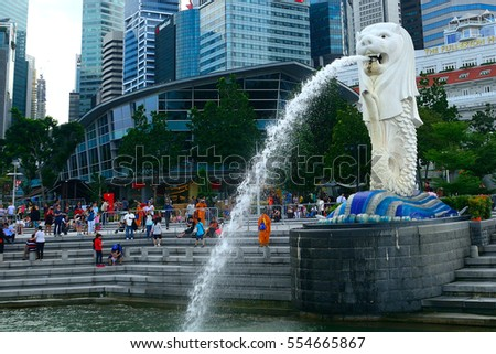 SINGAPORE - DECEMBER 29: Merlion at December 29, 2016 in Singapore. Half-lion - half-fish Merlion is thy symbol of Singapore.