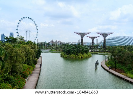 singapore feb 14 day view from entrance way to the supertree grove at gardens