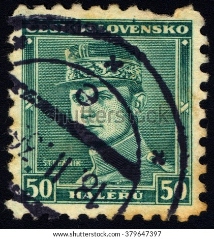 SINGAPORE - FEBRUARY 21, 2016: A stamp printed in Czechoslovakia shows General Milan Rastislav Stefanik, circa 1938