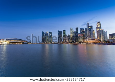SINGAPORE - JULY 15: Financial District with modern buildings on background on JULY 15, 2014 in Singapore.