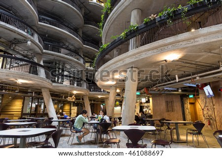 SINGAPORE - JULY 26, 2016_Interior View, The Hive, called Dim Sum Baskets? Building, at Nanyang Technological University (NTU). The building was awarded the Green Mark Platinum in 2013