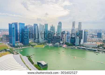 SINGAPORE - JULY 16, 2015: view of Marina Bay. Marina Bay is one of the most famous tourist attraction in Singapore.